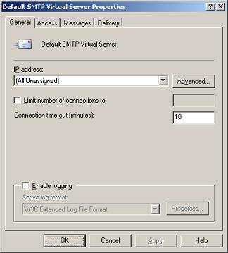 SMTP Virtual Server General Properties