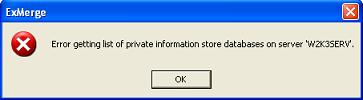 Error getting list of private information store databases on server