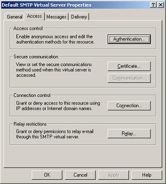 SMTP Virtual Server Access Properties