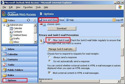 Enabling Junk E-mail Filtering