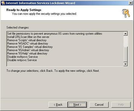Summary of settings to be applied