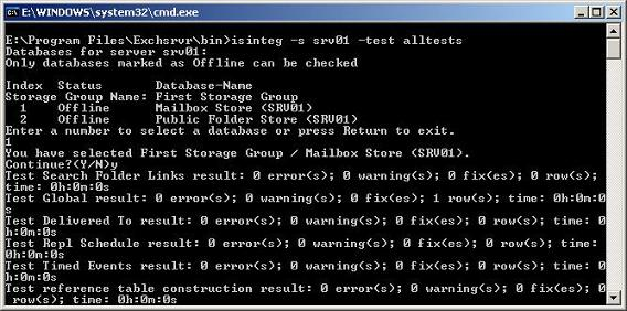 Performing alltests with Isinteg
