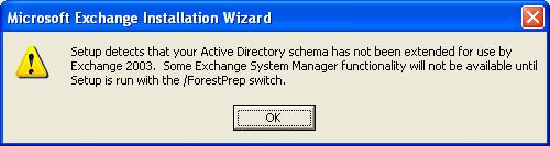 Exchange 2003 Schema Warning