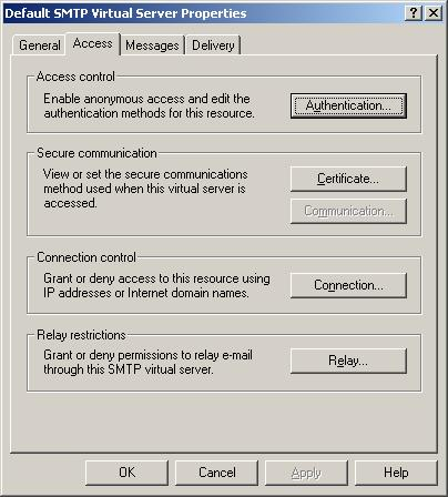 SMTP Virtual Server Access
