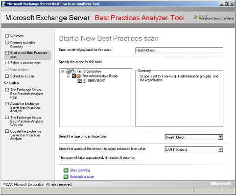 Exchange Server Best Practices Analyzer