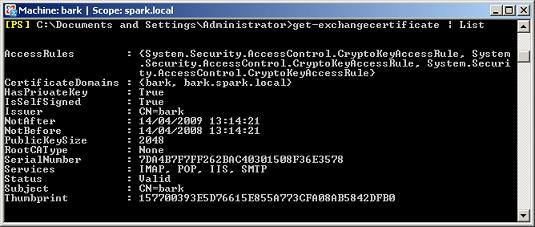 Exchange Certificate Properties