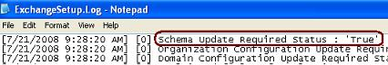 FIGURE B.7 - Displaying Exchange Schema Status in the ExchangeSetup.log file
