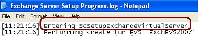 Setup Entering into ScSetupExchangeVirtualServer procedure