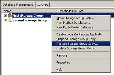 Restore Storage Group Copy