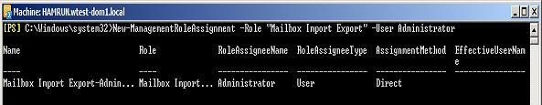 RBAC Mailbox Import Export role