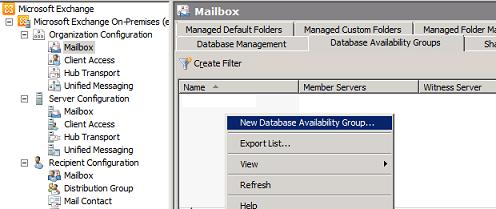 New Database Availability Group