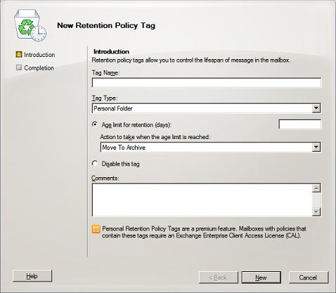 Retention Policy Tag Wizard