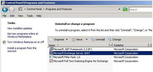 Uninstall Exchange 2007