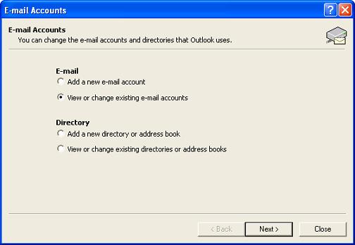 View or change existing e-mail accounts