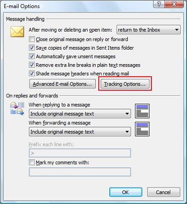 Outlook 2007 E-mail Options