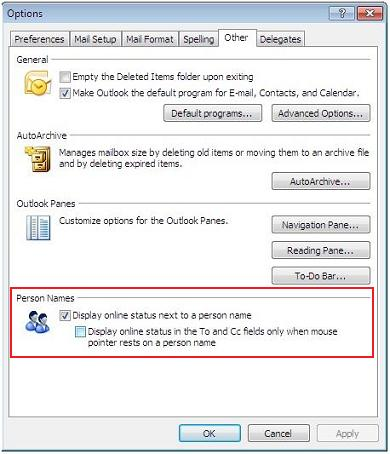 Outlook 2007 Lync Options