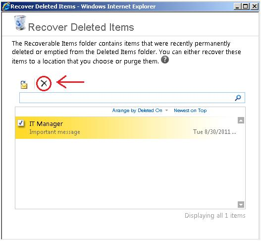 Deleting from Recoverable Items folder