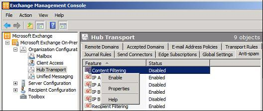 Enabling Content Filter from the Management Console