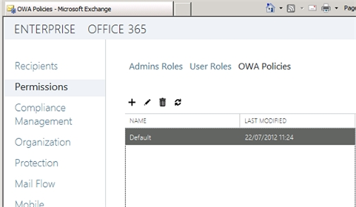 Exchange 2013 | Permisions | OWA Policies