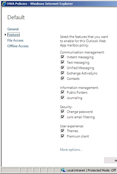 Exchange 2013 | Permisions | OWA Policies | Features