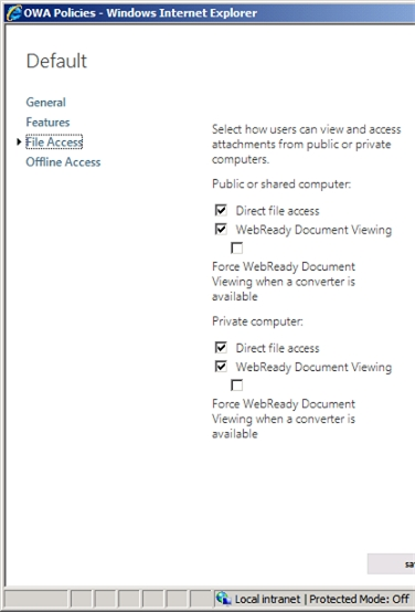 Exchange 2013 | Permisions | OWA Policies | File Access