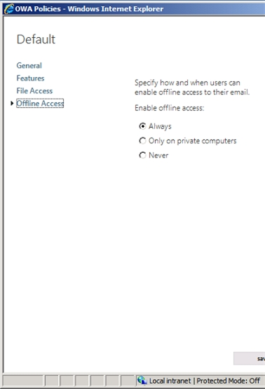 Exchange 2013 | Permisions | OWA Policies | Offline Access
