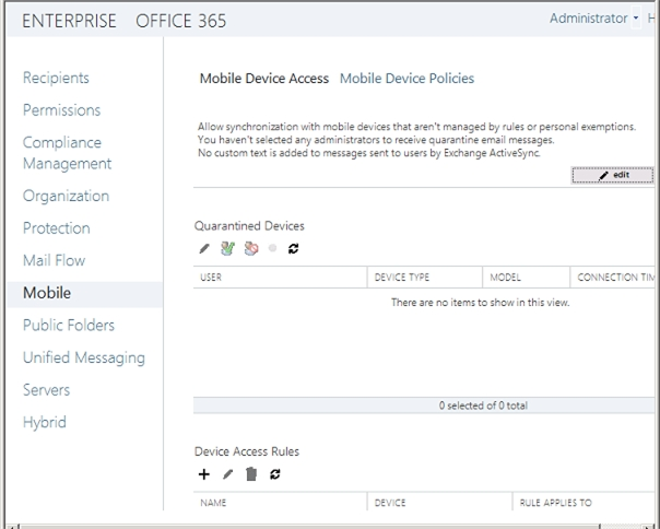 Exchange 2013 | Mobile | Mobile Device Access