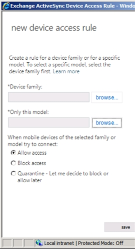 Exchange 2013 | Mobile | Mobile Device Access | Device Access Rule