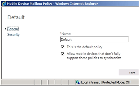 Exchange 2013 | Mobile | Mobile Device Policies | General