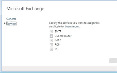 Exchange 2013 | Servers | Certificates | Services