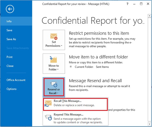 Outlook 2013 Recall Message